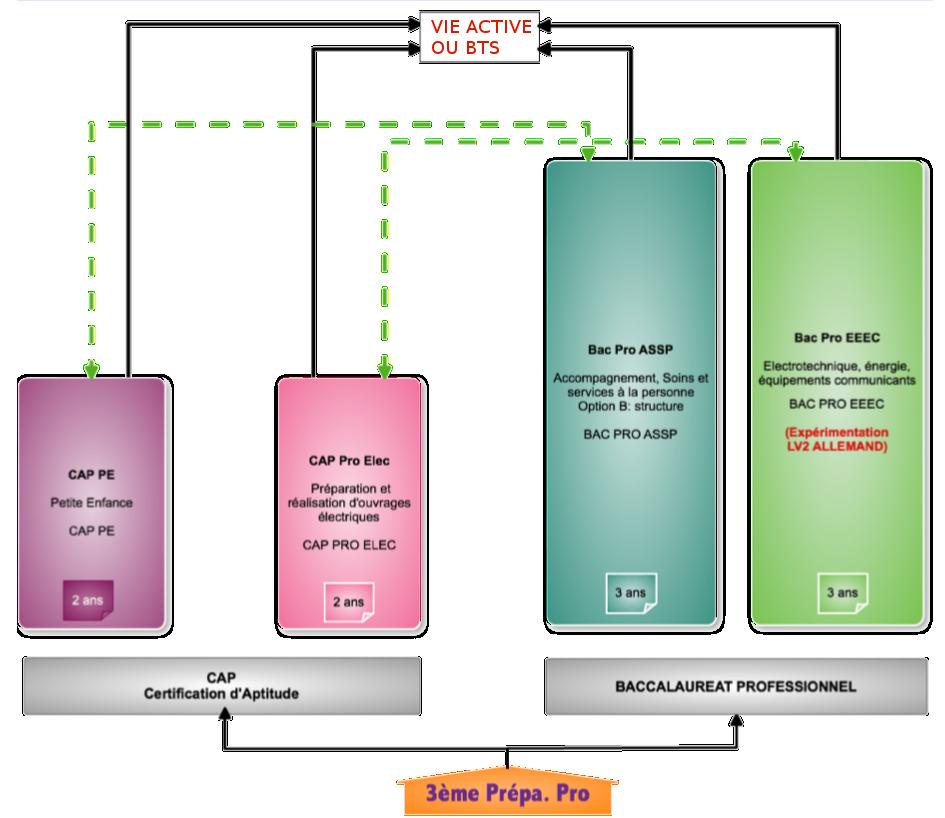Diagramme des formations professionnelles